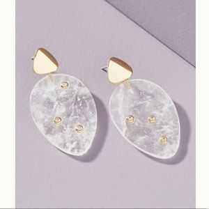 Clear Quartz 14K Gold CZ Crystal Drop Earrings